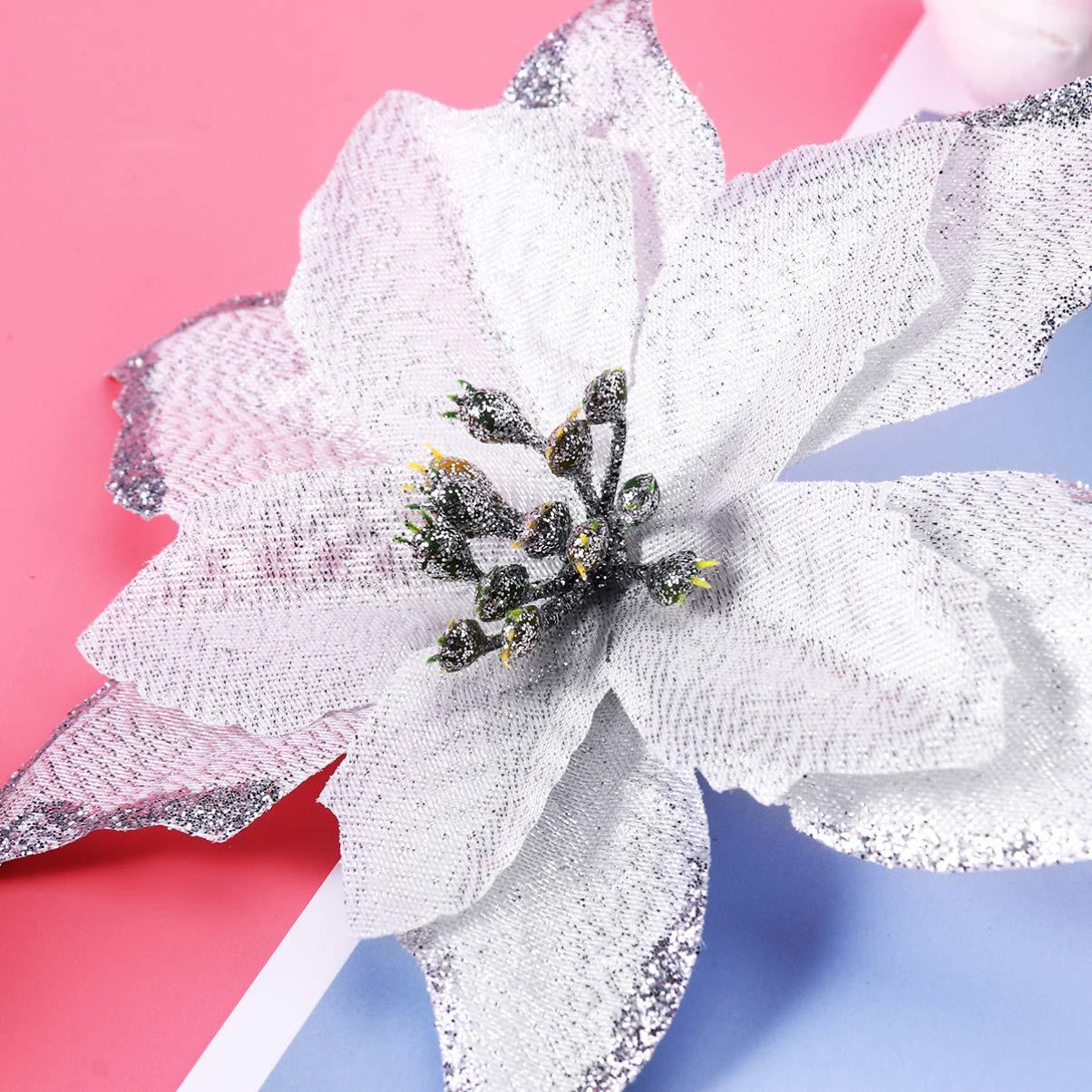 Amosfun 10 Piezas 13 cm Flores Artificiales de Navidad Glitter Poinsettia /árbol de Navidad Flores Ornamento DIY /árbol de Navidad guirnaldas guirnaldas de Vacaciones decoraci/ón Rojo