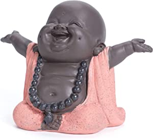 WGFKVAS Buddha Statue, Laughing Buddha Smiling Little Buddha Ceramic Buda Statue Little Monk Figurine, Baby Monk Figurine Cute Baby Buddha for Home Office Car Decors Gift Crafts and Arts (Red)