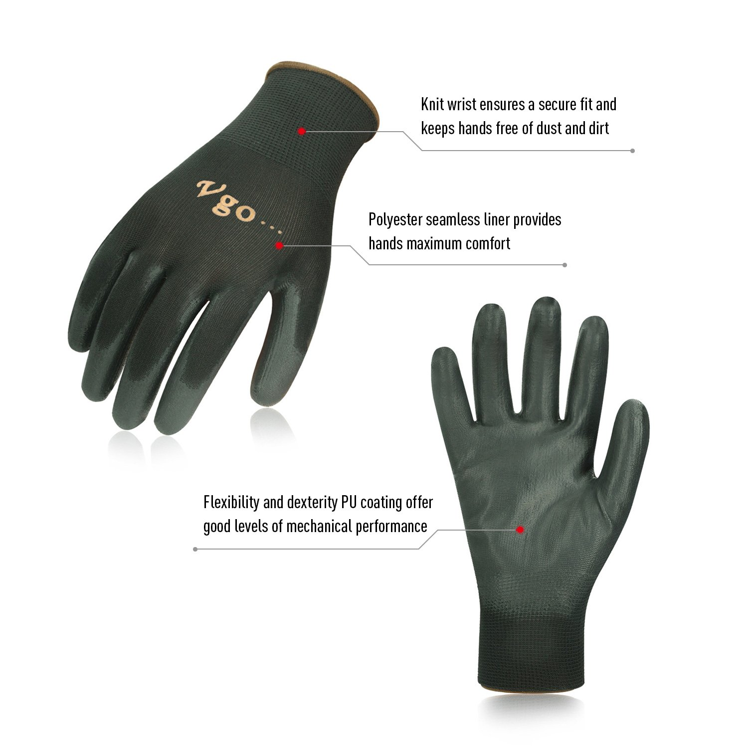 Vgo… PU Coated Gardening and Work Gloves (15 Pairs, Black Color, Size 9/L and 10/XL) by Vgo... (Image #2)
