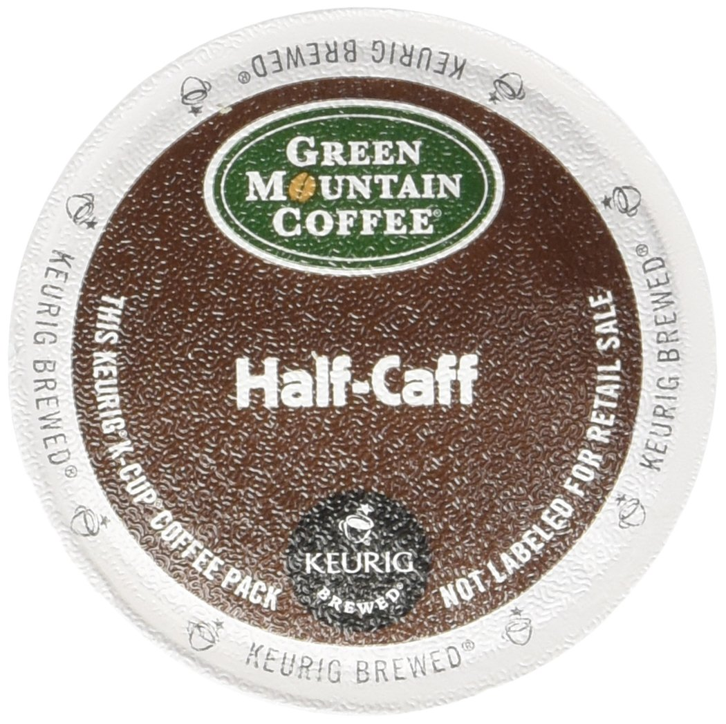Green Mountain Coffee, Half-Caff, Single-Serve Keurig K-Cup Pods, Medium Roast Coffee, 72 Count (3 Boxes of 24 Pods)
