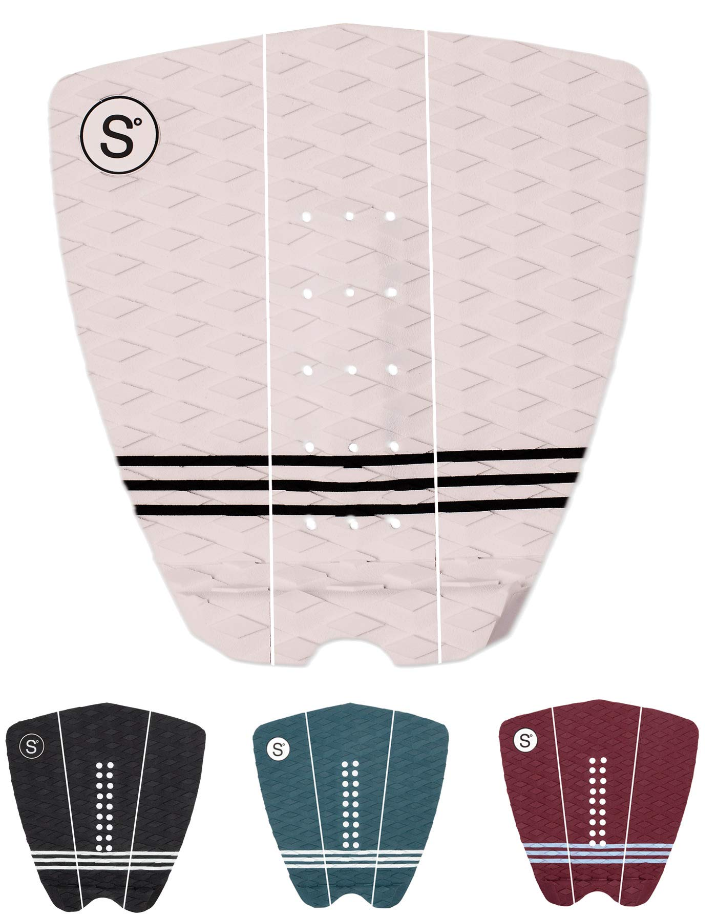 Sympl Surfboard Traction Pad • 3 Pieces • Maximum Grip, 3M Adhesive for Surfboard, Skimboard, Longboard • [Choose Color] (White) by Sympl Supply Co.