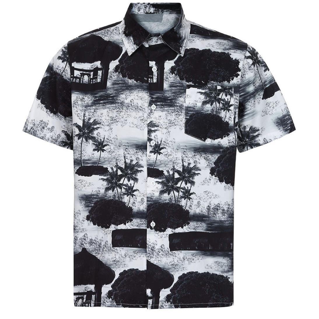 d4ba957dd LuckyGirls Camisa Camisetas Originales Hombre Manga Cortos Verano Estilo  Hawaiano Moda Polos Deportivas Blusa Casuales Slim Playa Remera  Amazon.es   ...
