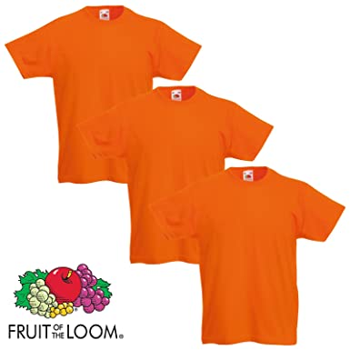 b7b869dcf 3 Pack Fruit of the Loom Cotton Plain Childrens Boys Girls T Shirts  Wholesale (3-4 Years, 3 Orange): Amazon.co.uk: Clothing