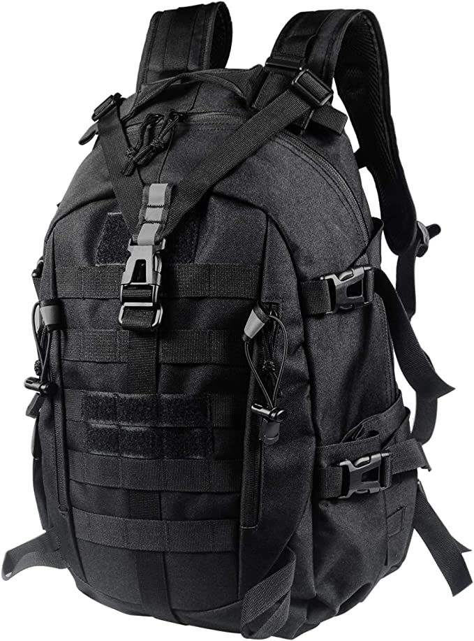 Image of black military backpack with support buckles on front and on both sides