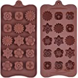 Silicone Chocolate Molds Flowers Shape Cake Candy Mould Jelly Ice Tray for Handmade DIY, Coffee, 2 Pack