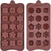 Stampo in Silicone per Cioccolato Cioccolatini a Forma di Fiori Vassoio di Ghiaccio Torta Caramelle per Artigianale Fai Da Te, Caffè, 2 Pezzi