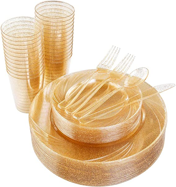 "175pcs Gold Glitter Plastic Plates, Cups with Gold Disposable Silverware includes: 25 Dinner Plates 10.25"", 25 Dessert Plates 7.5"", 25 Tumblers 10oz, 50 Forks, 25 Knives, 25 Spoons"