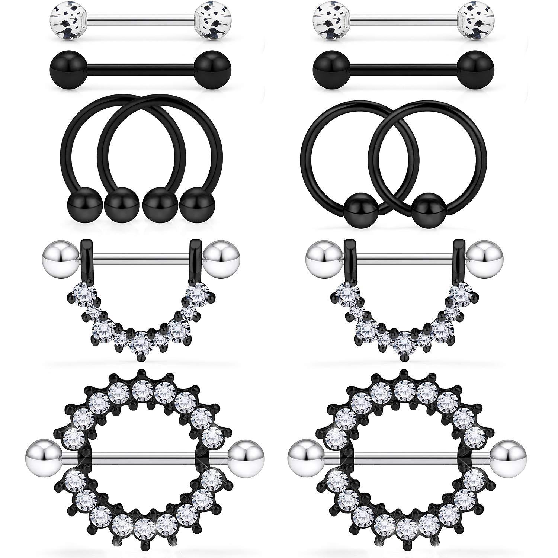 Kridzisw 14G Nipple Tongue Rings 6 Pairs Surgical Steel Nipple Nipplerings Shield Ring Barbell Bar Hoop Piercing Body Jewelry CZ Round Shape for Women Black by Kridzisw