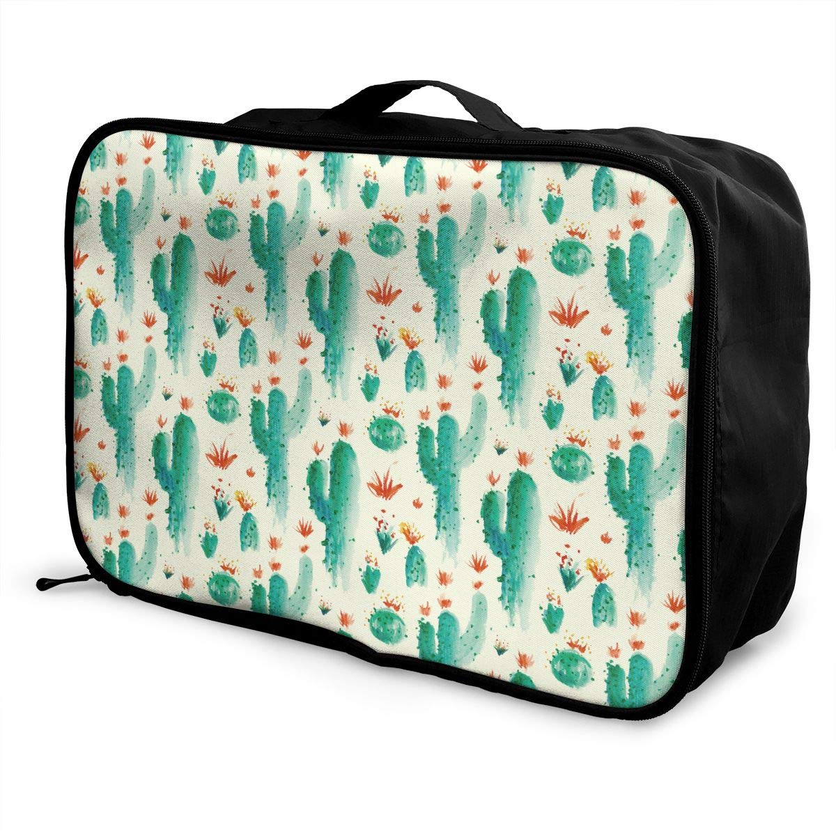 YueLJB Cactus Water Color Lightweight Large Capacity Portable Luggage Bag Travel Duffel Bag Storage Carry Luggage Duffle Tote Bag