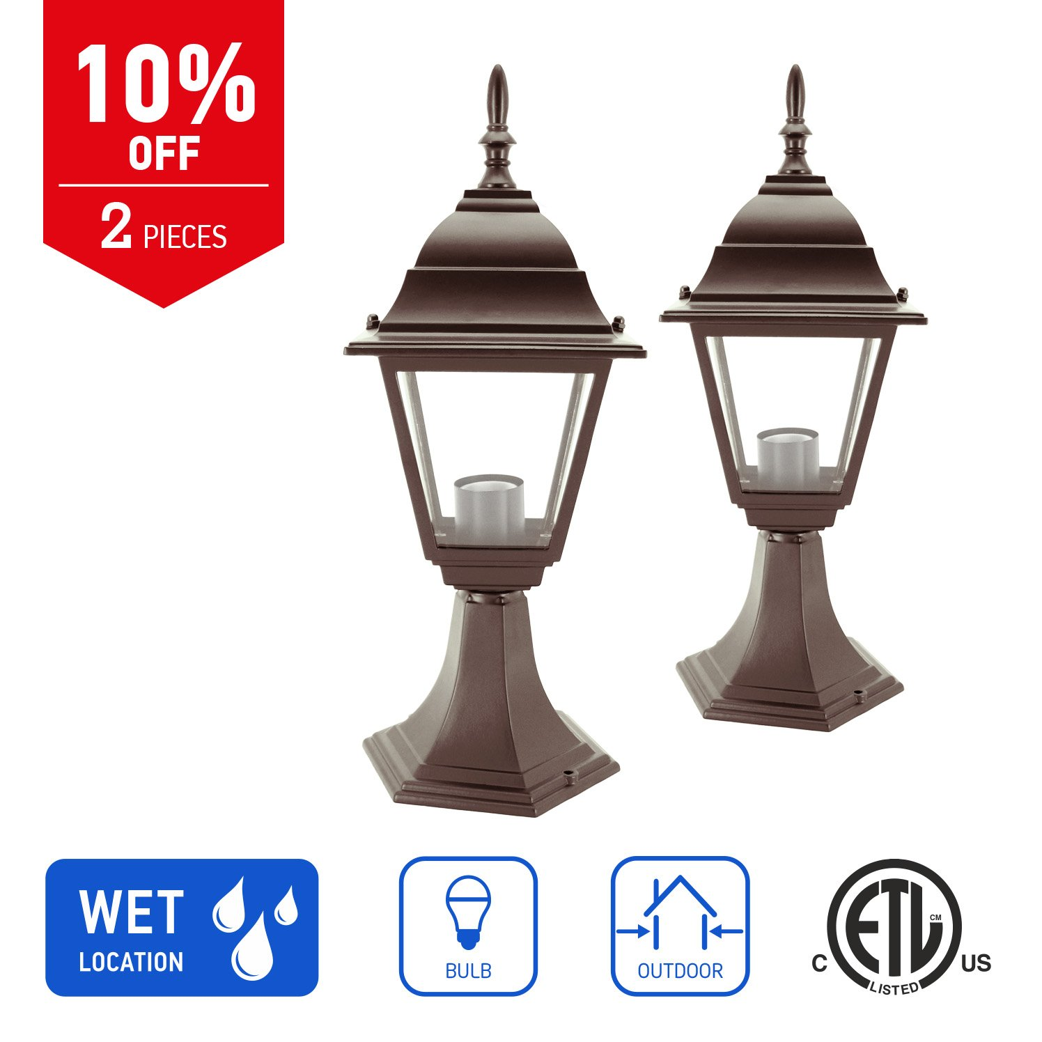 IN HOME 1-Light Outdoor Garden Post Lantern L02 Lighting Fixture, Traditional Post Lamp Patio with One E26 Base, Water-proof, Bronze Cast Aluminum Housing, Clear Glass Panels, (2 Pack) ETL Listed