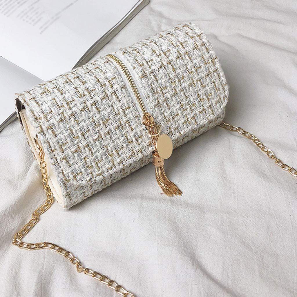 Makeupstory Purses and Handbags,Straw Bag,Women's Fashion Solid Color Square Bag Shoulder Bag Tassel Diagonal Package White by Makeupstory (Image #4)