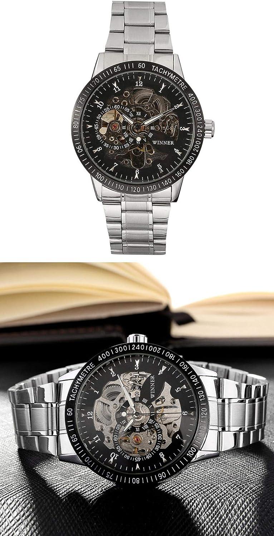 Montres Hommes,Montre De Loisir en Acier Montre Mécanique Entièrement Automatique Montre-Bracelet d'affaires Creux De Fond Black