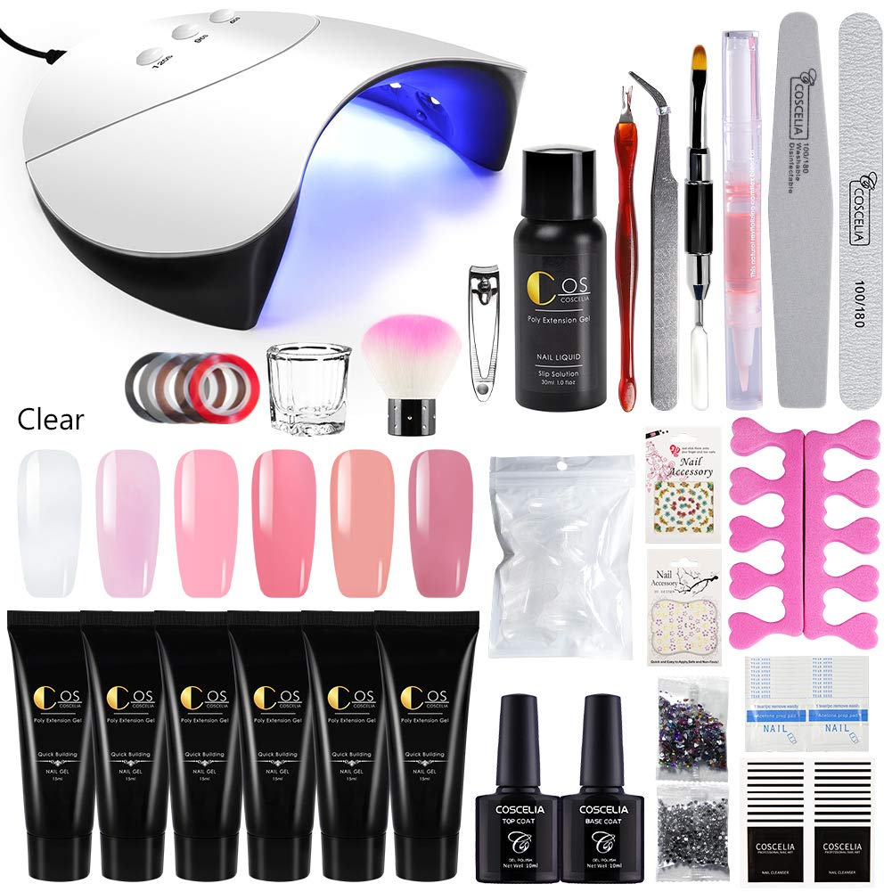 COSCELIA 6 Colors Poly Nail Gel Kit with 36W LED Nail Lamp Nail Extension Gel Professional Nail Technician All-in-One French Kit by COSCELIA