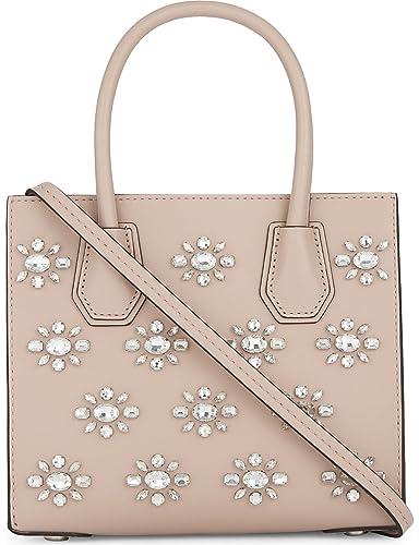 dd7cf87e3b3c4 Michael Kors Studio Mercer Crystal-Embellished Leather Crossbody in Ballet   Handbags  Amazon.com