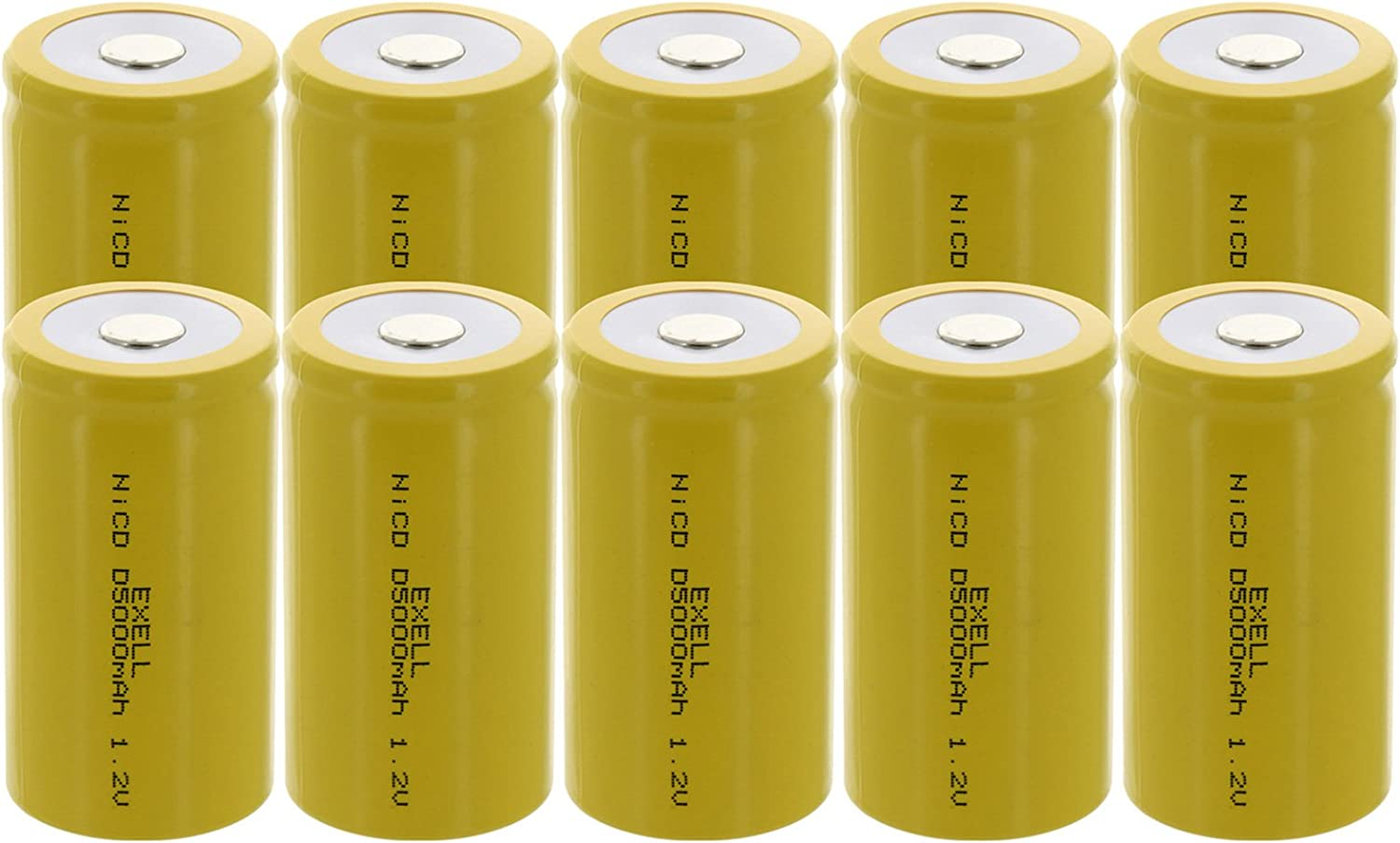 10X Exell D Größe 1.2V 5000Mah Nicd Wohnung obere Rechargeable Batteries für Meters, Radios, Hybrid Automobiles, hoch Power Static Applications (Telecoms, Ups und Smart Grid), Radio Controlled Devices