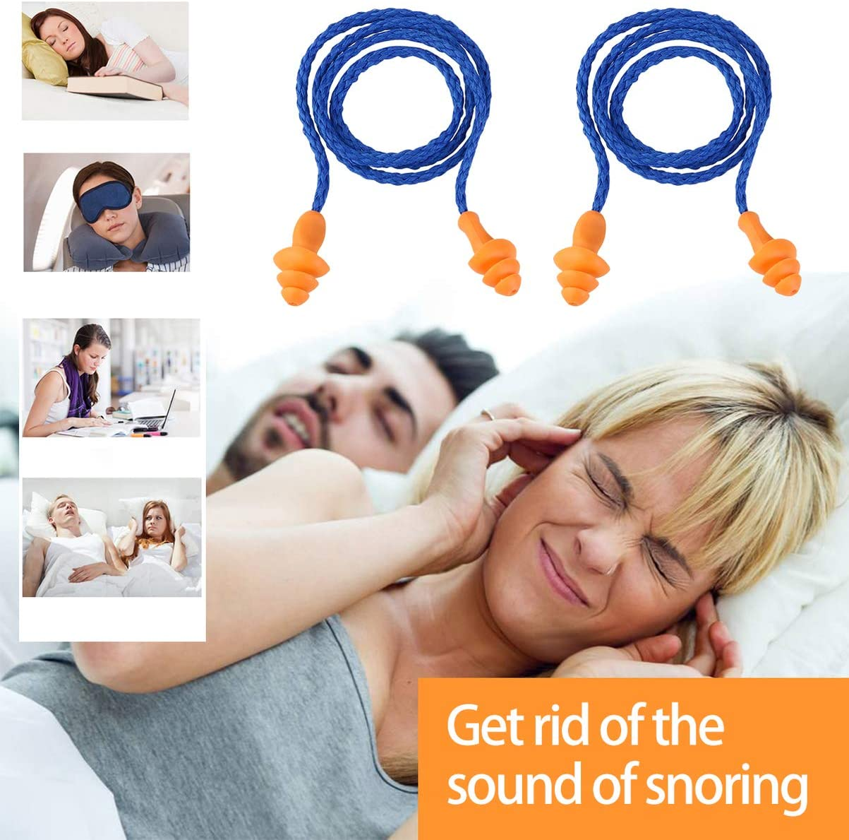 Soft Silicone Corded Ear Plugs Corded Silicone Ear Plugs Reusable Hearing Protection Earplugs 10 Pairs (Blue)