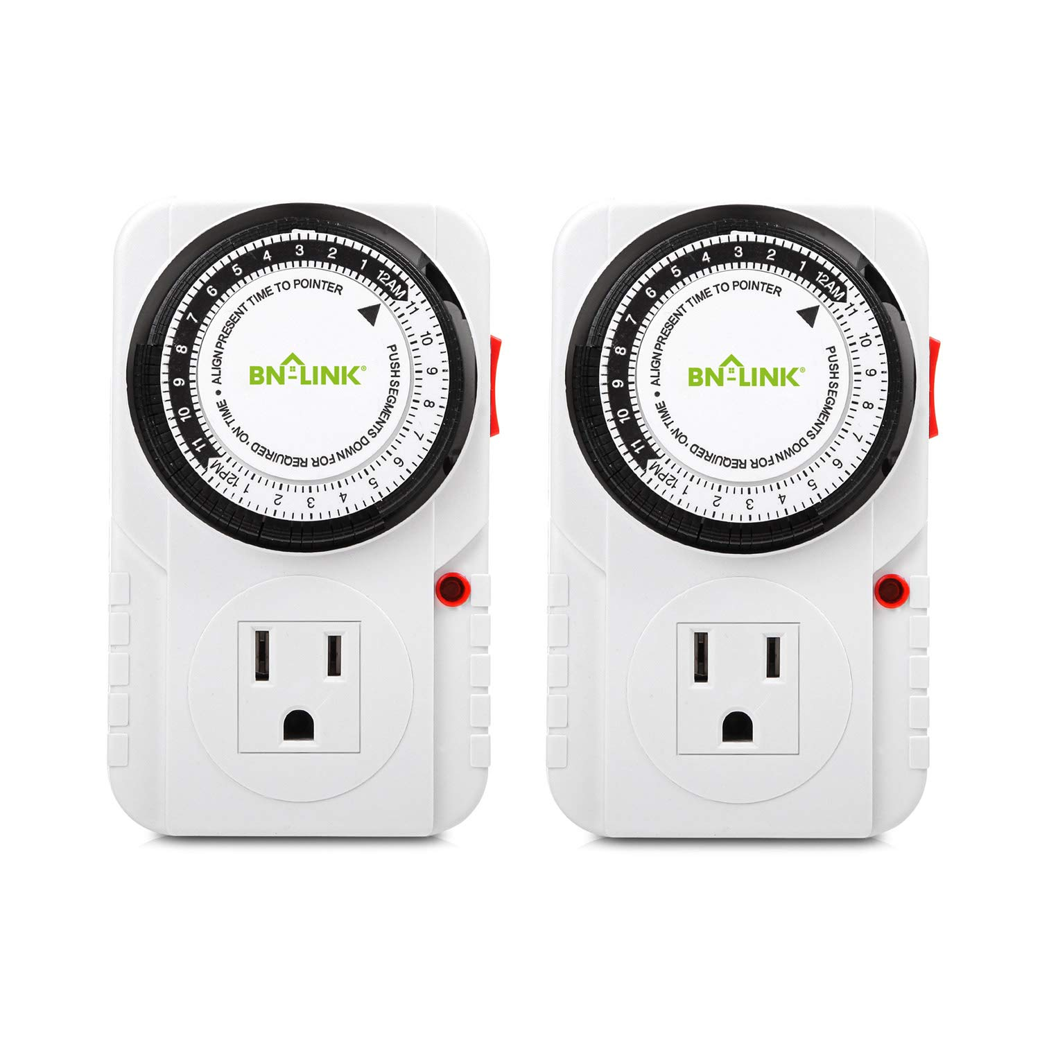 BN-LINK 24 Hour Plug-in Mechanical Timer Grounded, Accurate Heavy Duty, 3-Prong for Lamps Fans Christmas String Lights White AC 1875W 1/2 HP, UL Listed (2 Pack) by BN-LINK