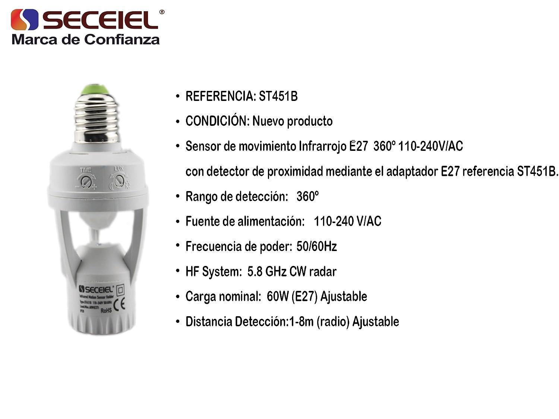SECEIEL-Interruptor E27 detección de movimiento 360º detector de movimiento Infrarrojo mediante el adaptador E27 1200W: Amazon.es: Hogar