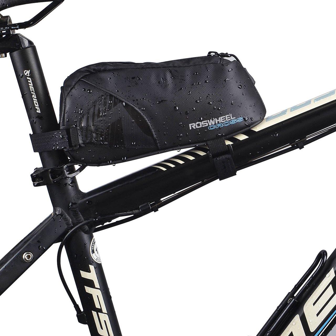 FlexDin Energy Bicycle Frame Bag, MTB/Road Bike Front/Back Top Tube Cycling Fuel Bag Pannier Waterproof 1680D 0.9L Black