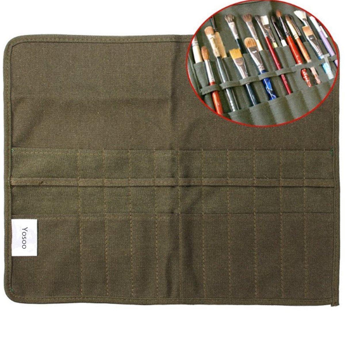 Yosoo pennello borsa sacchetto porta pennelli pennello trucco Holder per Artist e Brush Tool Kit