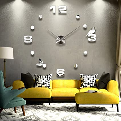 Contemporary Luxury Frameless Large Size 3D Mirror Surface Creative Modern Room Home Decoration Art Clock DIY