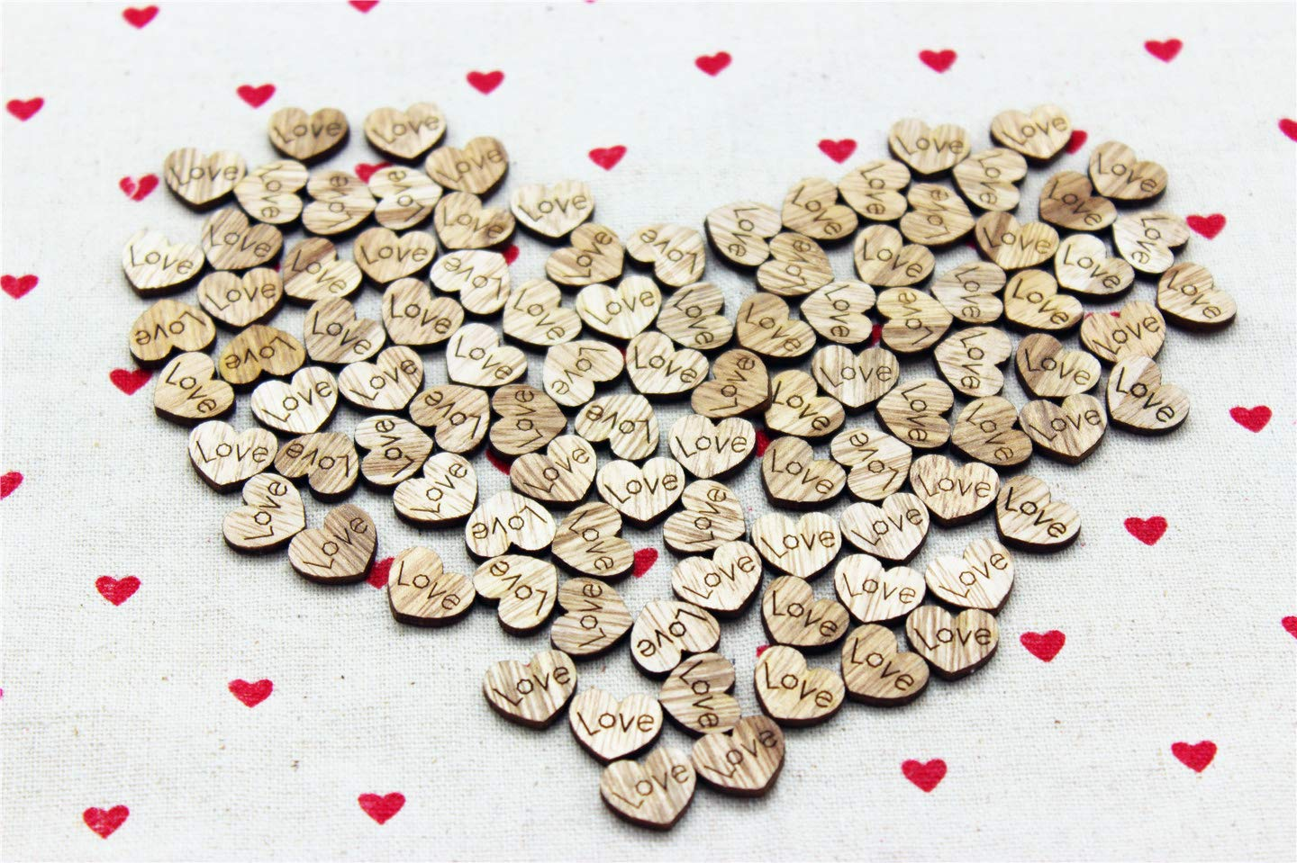 COOLJOY 400 Pcs Rustic Wooden Love Heart Table Scatter for Wedding Decorations Perfect for Rustic Wedding Planning,Marriage,Bridal Showers,and DIY Crafts