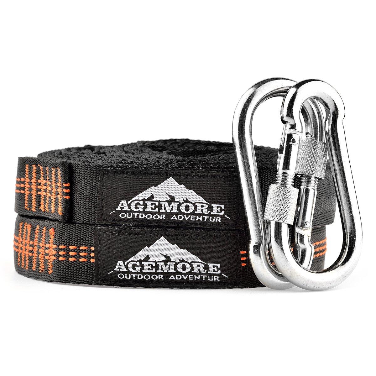 Agemore Set di 2 ganci in acciaio per sistema a sospensione max 90 mm 135 kg escursioni e pesca moschettone utile per campeggio