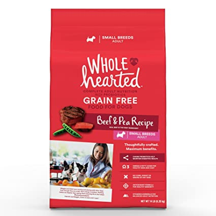 Amazon.com: WholeHearted Grain Free Small Breed Adult Beef and Pea Recipe Dry Dog Food, 14 lbs.: Pet Supplies