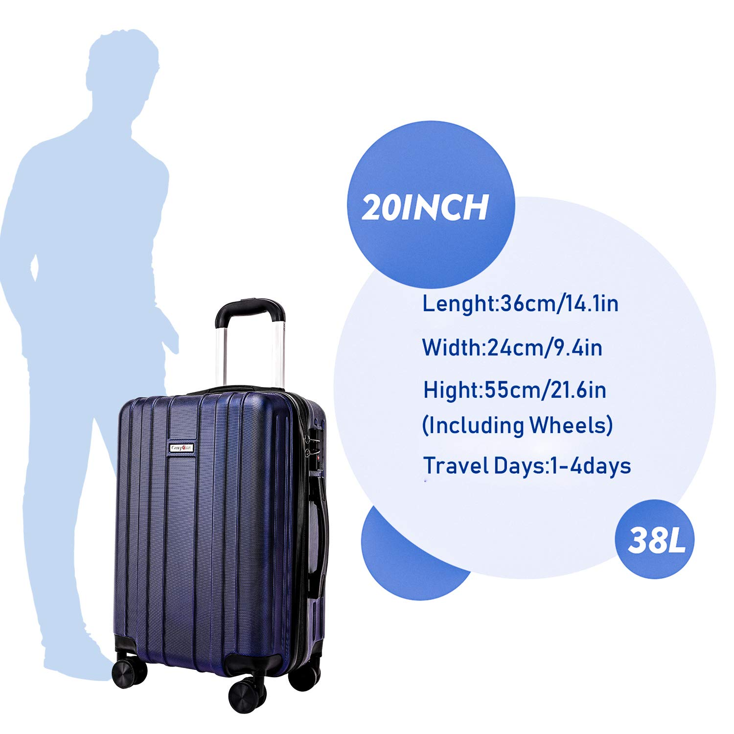 CarryOne Luggage Lightweight Suitcase ABS 3 Piece Set with TSA Lock Spinner Wheels TD3-Blue(20in,24in,28in)