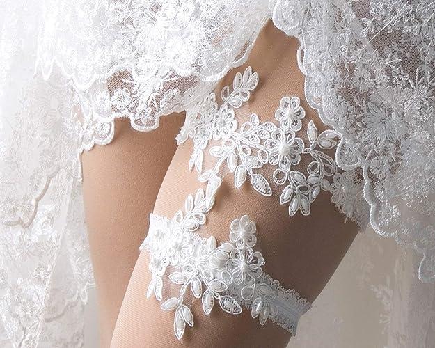 47ed721e0ed Amazon.com  Flower Applique Wedding garter set