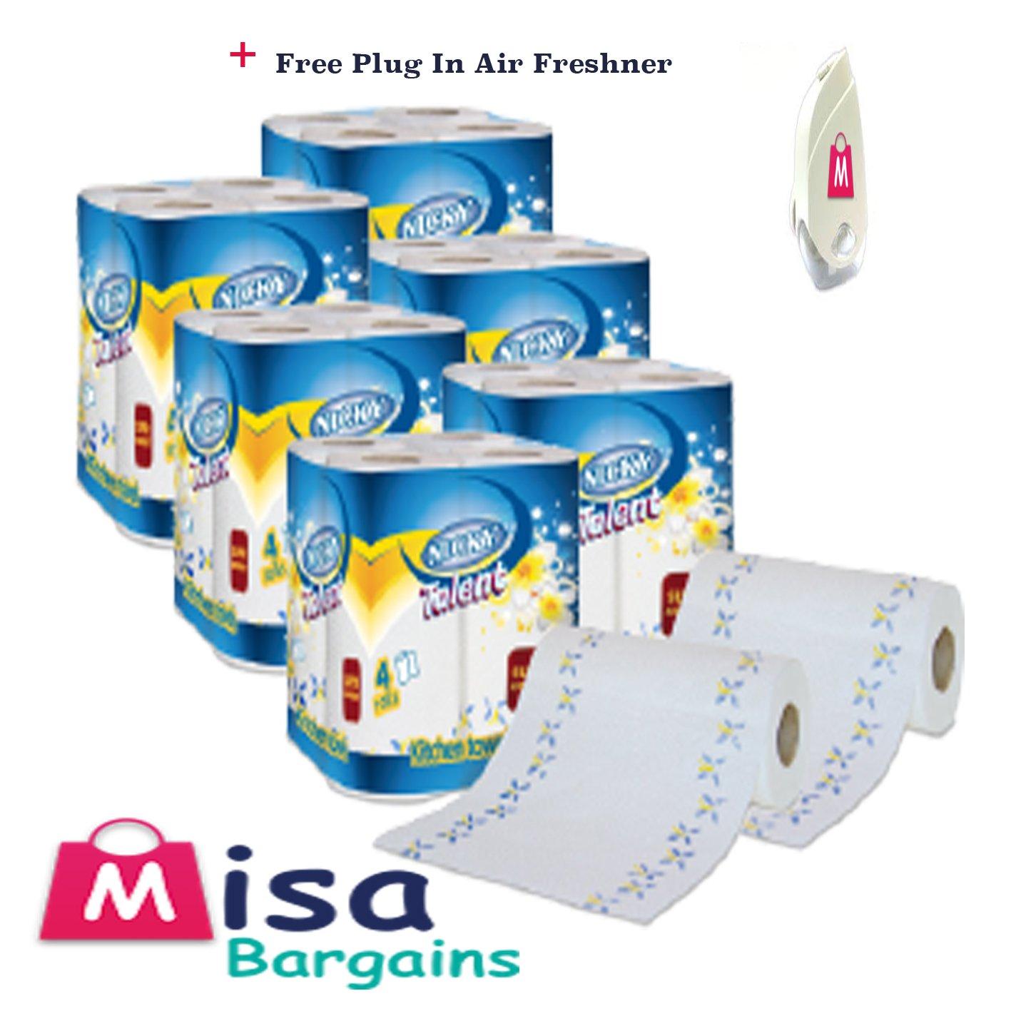48 Rolls Nicky Talent Kitchen Towels Super Absorbent Printed Design + Misa gift