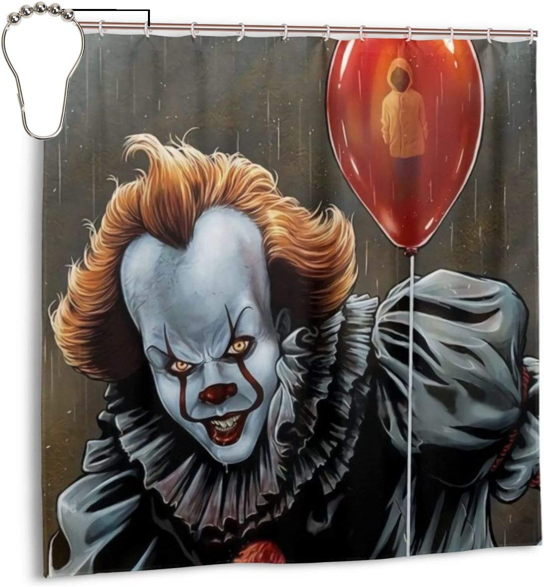 Shower Curtain Pennywise-Kid Polyester Fabric Floral Waterproof Bathroom Decor with Hooks 72