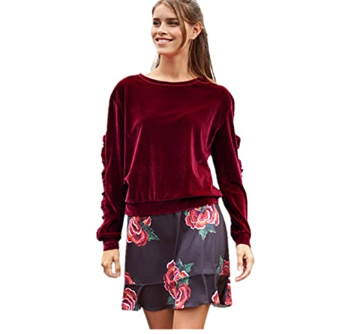 La Mujer Invierno Casual Blusa Cuello Redondo Camiseta Interior Terciopelo Oficina Top Tee, ❤...