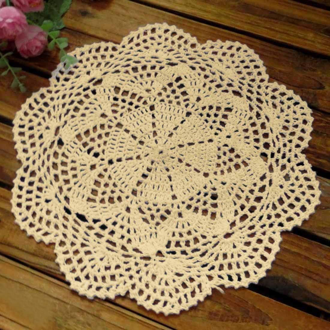 kilofly Crochet Cotton Lace Table Placemats Doilies Value Pack, 4pc, Roma, Beige, 10 inch
