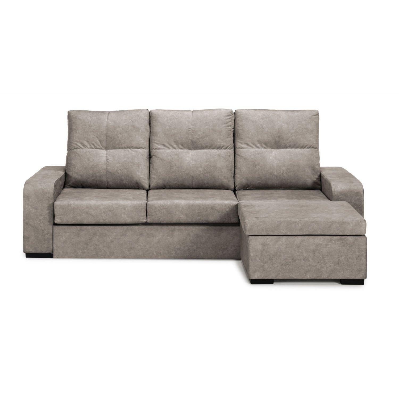 Mueble Sofá Cama con Chaise Longue color beige, Somier y Colchón incluidos, cheslong SUBIDA A DOMICILIO