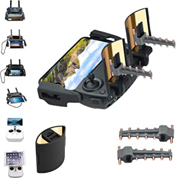 Owoda Plegable Espejo Señal Aumentador+ Yigi UDA Antena Rango Extensor Control Remoto Transmisor para dji Mini/Air/Mavic 2 Drone Accessories y Mavic ...