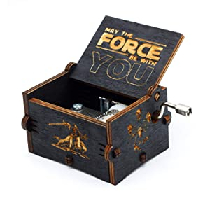Huntmic Black Wood Star Wars Music Box, Antique Carved Hand Cranked Wooden Musical Boxes Home Decoration Crafts for Children Gifts (Black Star War)