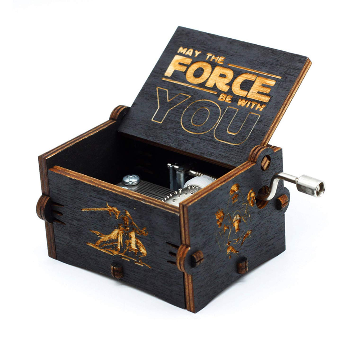 Huntmic Black Wood Star Wars Music Box, Antique Carved Hand Cranked Wooden Musical Boxes Home Decoration Crafts for Children Gifts