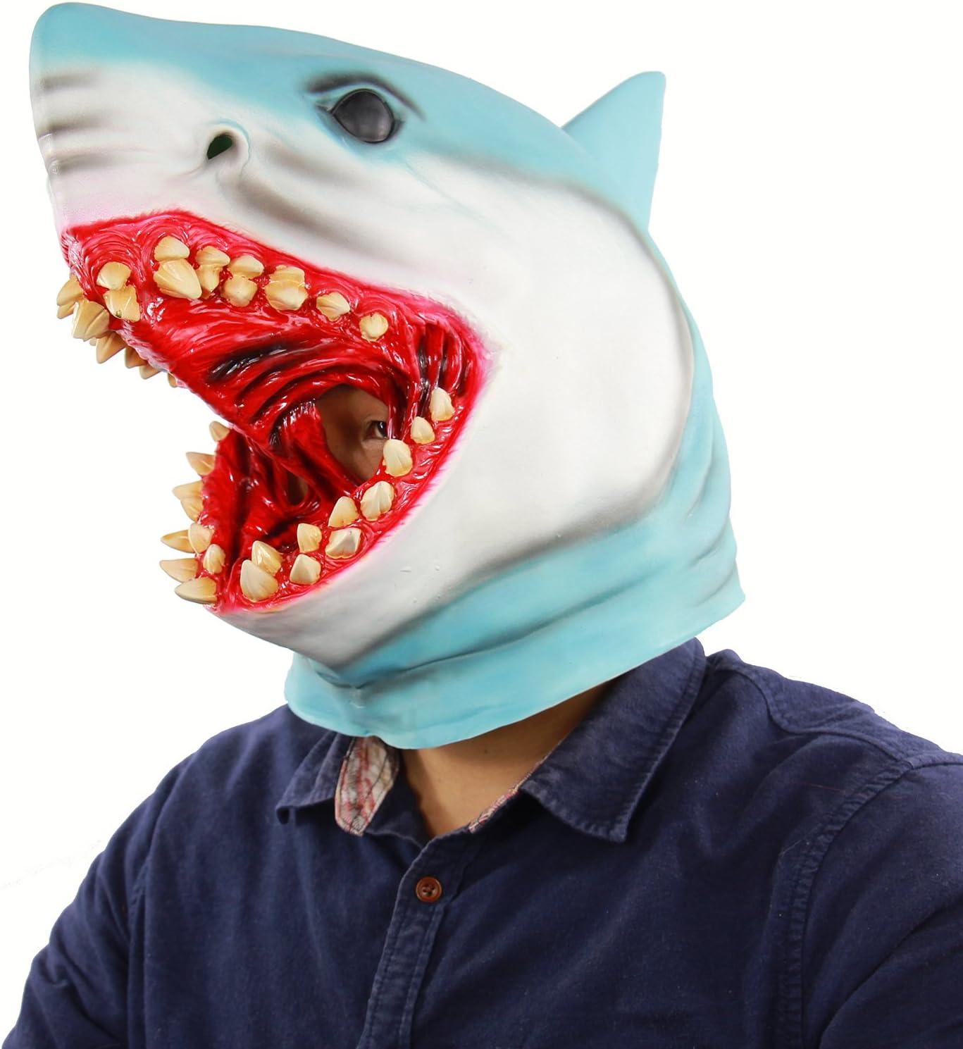 Latex Animal Mask Costume Accessory Novelty Halloween Party Head Mask Shark MaskScary Fancy Dress Party Ocean Fish Cosplay