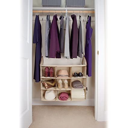 Hanging Closet Storage Center   Space Saver For Clothes, Shoes, Blankets,  Hats