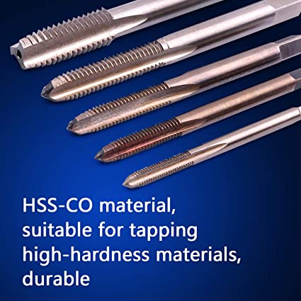 7pcss Plug Hand Taps Set M3-M12 Metric Straight Flute Thread Manual Bottoming Tap