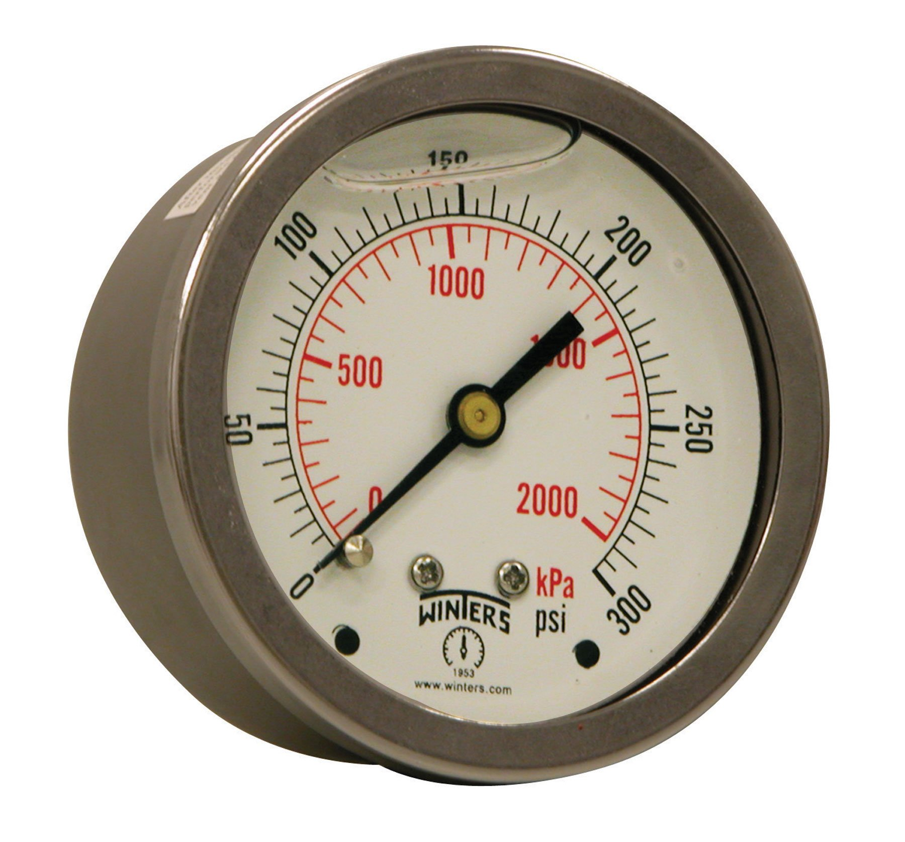 Winters PFQ Series Stainless Steel 304 Dual Scale Liquid Filled Pressure Gauge with Brass Internals, 0-300 psi/kpa,2-1/2'' Dial Display, +/-1.5% Accuracy, 1/4'' NPT Center Back Mount