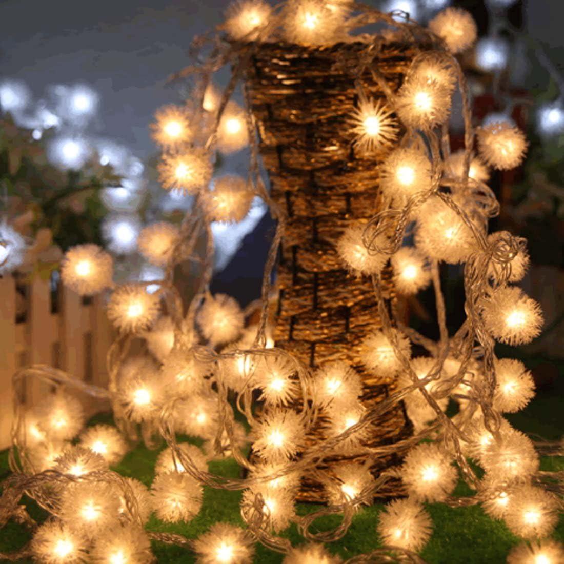 Dandelion Christmas Ball Lights String LED Twinkle Fairy Garland Battery Xmas