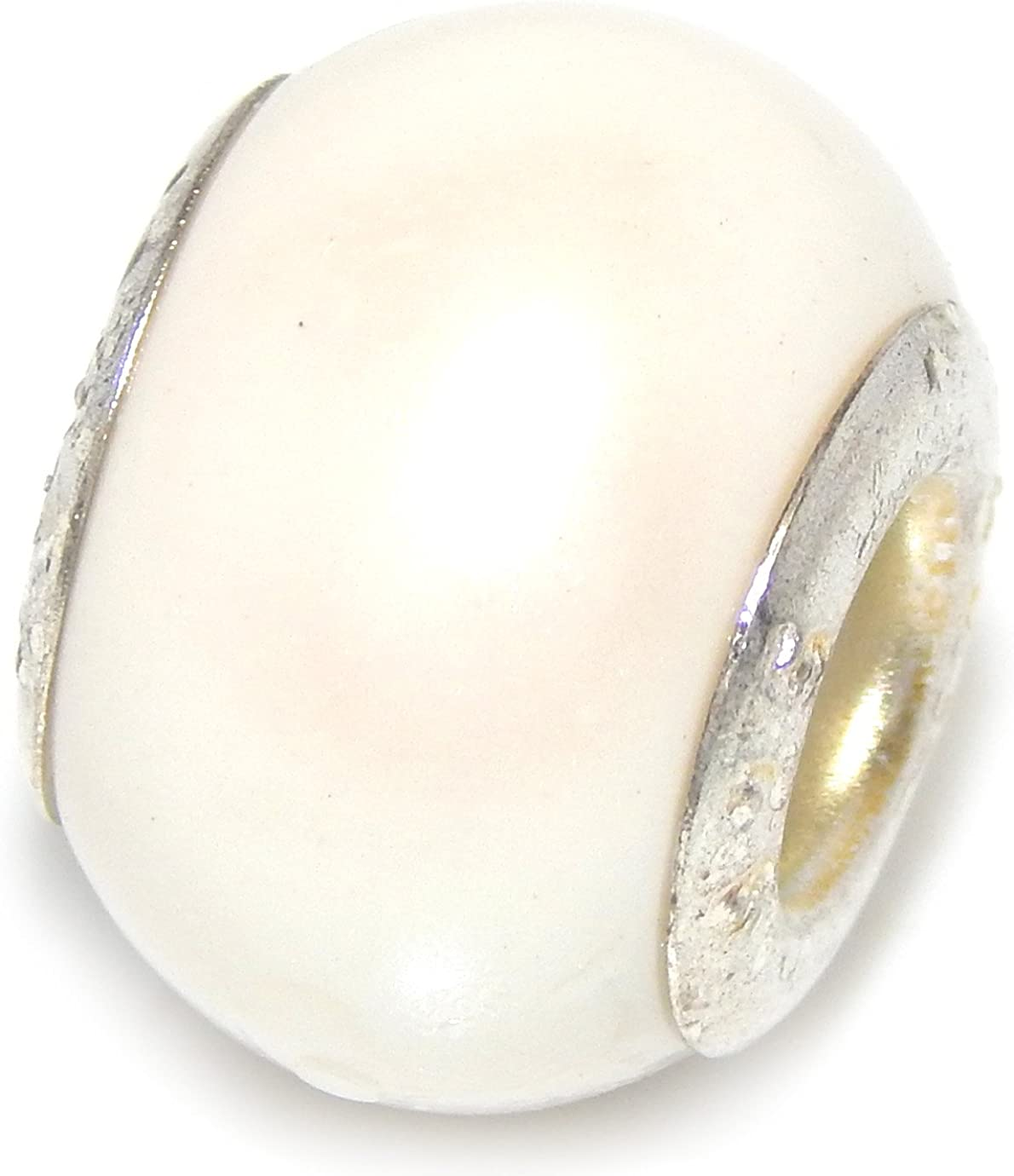 925 Sterling Silver Round White Seashell Charm Bead