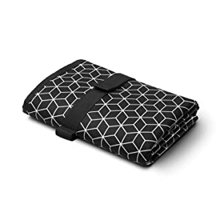 Toolik Baby Diaper Changing Pad, Extra Large (27.5 x 19.7 inch) Waterproof Mat for Stroller Walks or Diaper Bag, Fits Newborn and Toddler for Quick Change on The go, Black with 3D Cube
