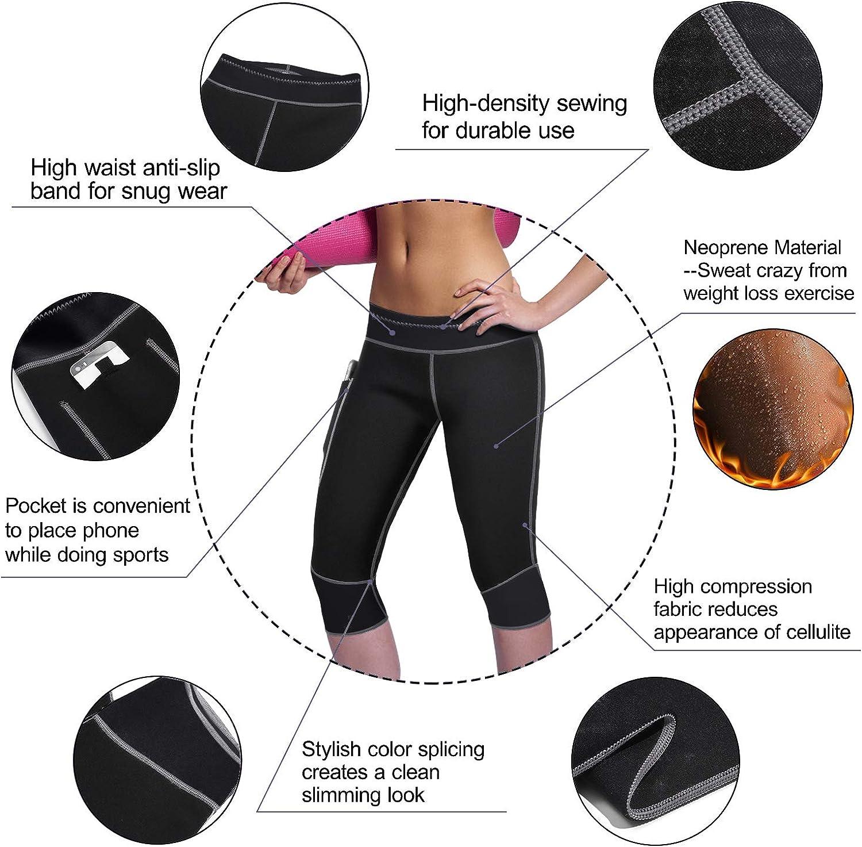 Women Weight Loss Hot Neoprene Sauna Sweat Pants with Side Pocket Workout Thighs Slimming Capris Leggings Body Shaper