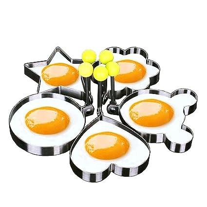 New Heart To Heart Fried Egg Mold Stainless Steel Egg Pancake Rings Star Shaper Romantic Breakfast Frying Egg Cooking Tools Egg & Pancake Rings Home & Garden