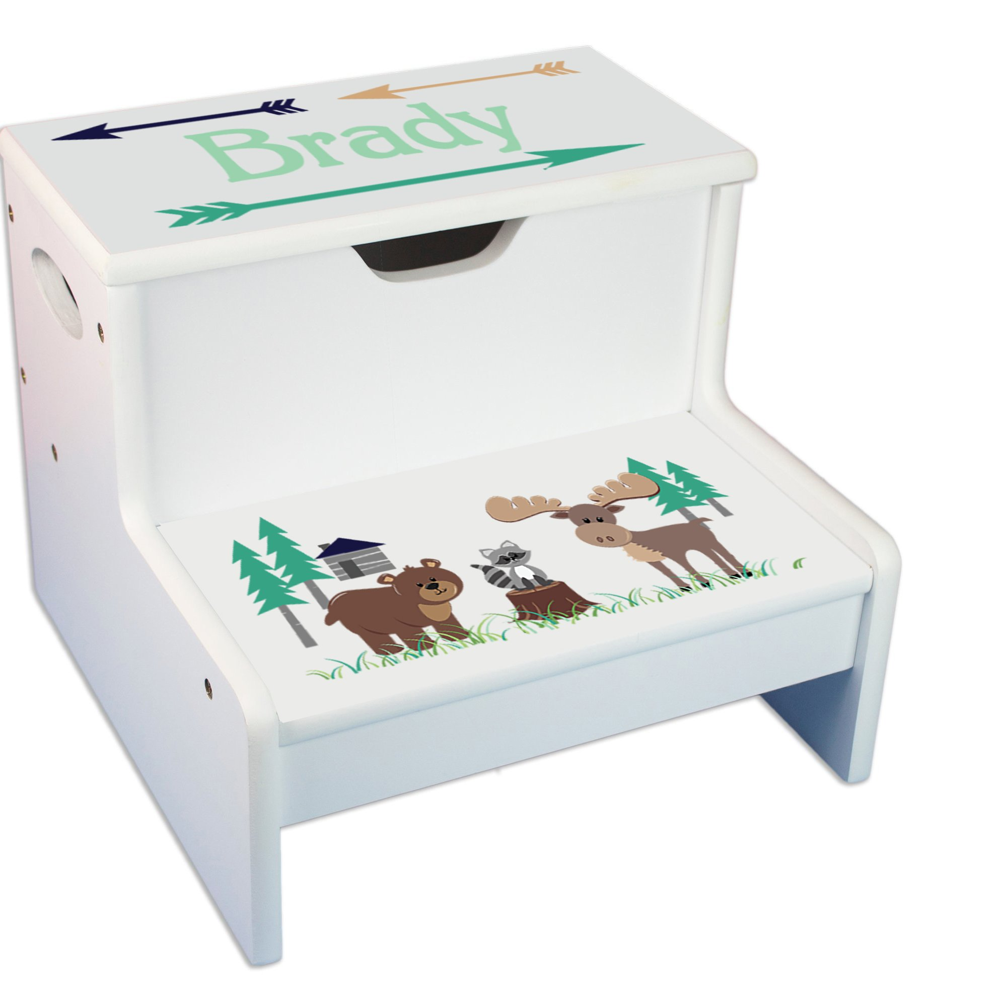Personalized North Woodland Critters White Childrens Step Stool with Storage