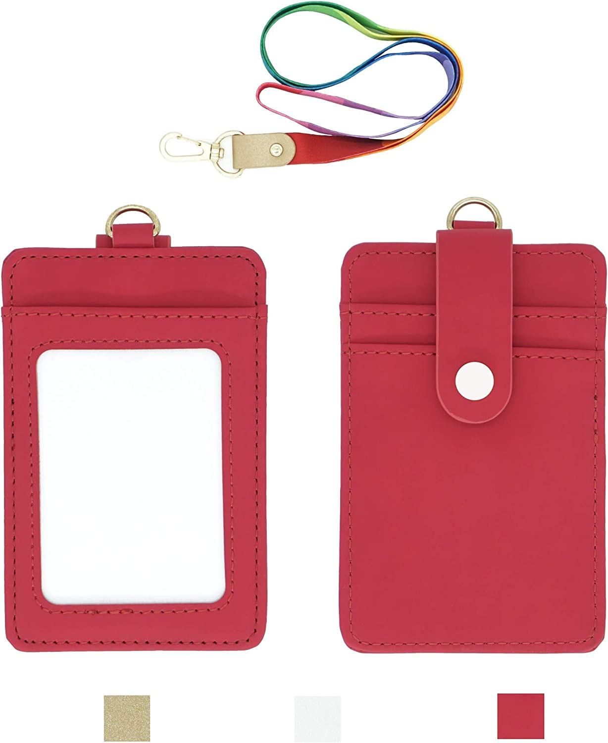 Rosered Lanyard with ID Badge Holder, PU Leather Office Card Holders with 1 Clear Vertical Window, Extra 2 Back Credit Card Slots with Button and One Detachable Neck Lanyard