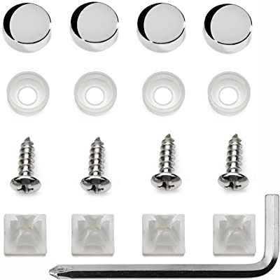 LFPartS Stainless Steel License Plate Frame Screws Fasteners + Chrome Caps: Automotive
